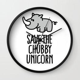 Save the chubby unicorn Wall Clock