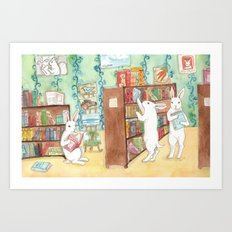Bookstore Bunnies Art Print