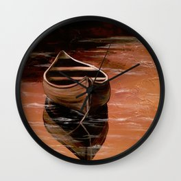 Canoe at Sunset Wall Clock
