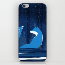 Wintery Blue Forest FOX Design iPhone Skin