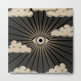 Radiant eye minimal sky with clouds - black and gold Metal Print