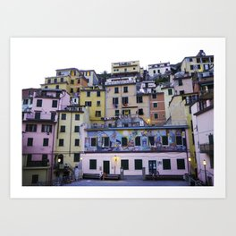 Colourful courtyard of Riomaggiore Art Print