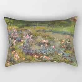 "Auguste Renoir ""Rose Garden"" Rectangular Pillow"