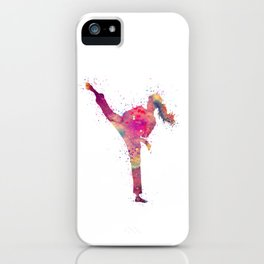 Karate Girl Colorful Watercolor Art iPhone Case