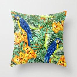 Tropical Pattern Parrots Throw Pillow