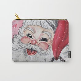 Vintage Santa Face Christmas Watercolor Carry-All Pouch