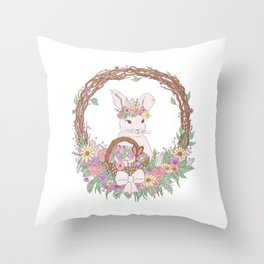 Easter Bunny Floral Wreath Throw Pillow
