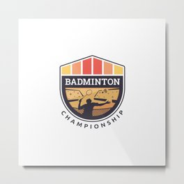 Badminton Badge Metal Print