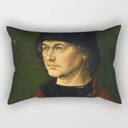 Albrecht Dürer the Elder with a Rosary by Albrecht Dürer Rectangular Pillow