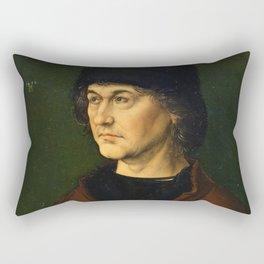 Albrecht Dürer the Elder with a Rosary by Albrecht Dürer Rectangular Pillow