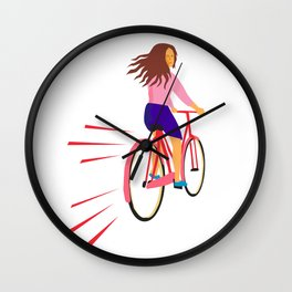 Girl Riding Vintage Bicycle Retro Wall Clock