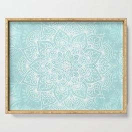 Boho Mandala Love Flower of Life, Pastel Teal Blue Serving Tray
