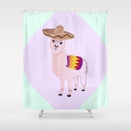 Cartoon Alpaca in Sombrero Shower Curtain