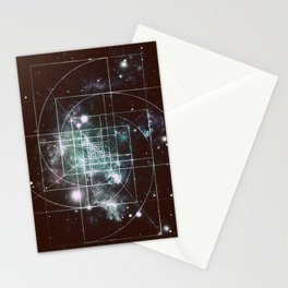 Galaxy Sacred Geometry: Golden Mean dark Stationery Cards