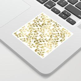 Gold Leaves on White Sticker