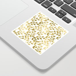 Gold Leaves on White Sticker