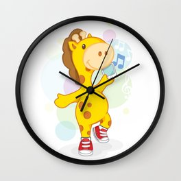 Party like Giraffe wearing converse Wall Clock