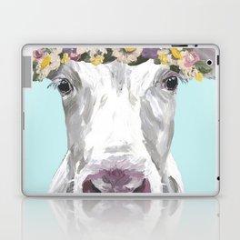 Cute Cow Up Close, Flower Crown Cow Laptop & iPad Skin