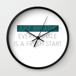 Just Breathe - Teal Typography Wall Clock
