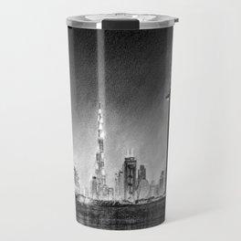 Dubai Cityscape Drawing Travel Mug
