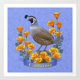 California State Bird Quail and Golden Poppy Art Print