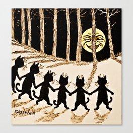 Cats & a Full Moon-Louis Wain Black Cats Canvas Print