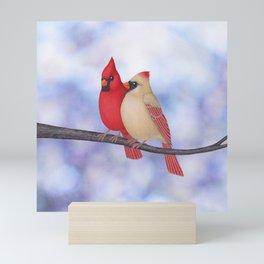 northern cardinals (bokeh) Mini Art Print