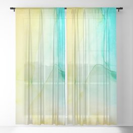 Beautiful abstract art of colorful fluid paint Sheer Curtain