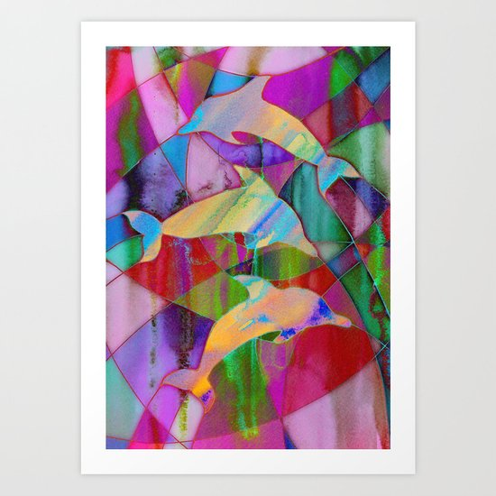 Caught in rainbow nets Art Print