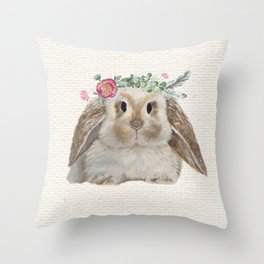 Floral Crown Bunny on Burlap Throw Pillow