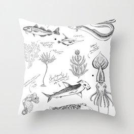 Ocean Sketches Throw Pillow
