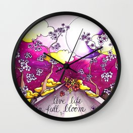 live life in bloom Wall Clock