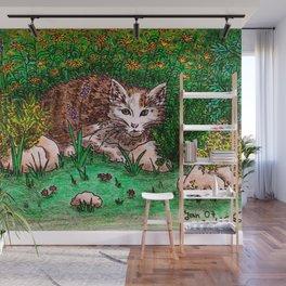 Cat in Flower Garden Wall Mural