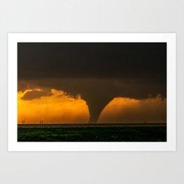 Silhouette - Large Tornado at Sunset in Kansas Art Print