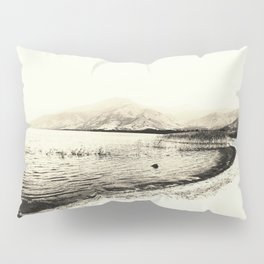 Minimal monochrome lakescape shore Pillow Sham