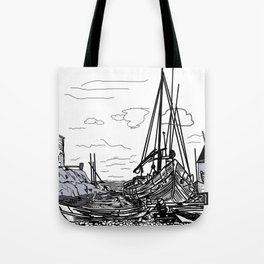boats on the sea . artwork . Tote Bag