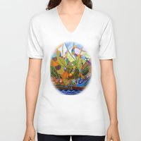 happiness V-neck T-shirts featuring Happiness by Vargamari