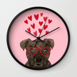 Pitbull head love hearts valentines day gifts for dog breed pibble lovers Wall Clock