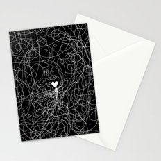 The lines of Love - Black version. Stationery Cards