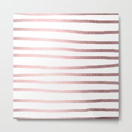 Simply Drawn Stripes Rose Quartz Elegance Metal Print