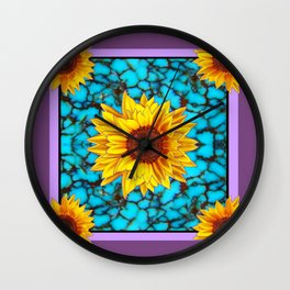 Puce-Purple Sunflowers Turquoise Gemstone Art Design Wall Clock