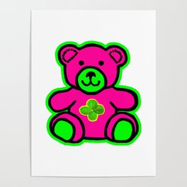 My Lucky Teddy jGibney The MUSEUM Magenta Society6 Gifts Poster