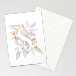 Rustic Watercolor Monogram - Letter S Initial Stationery Cards