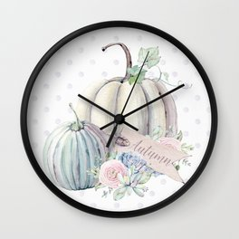 Pastel Autumn Pumpkins Wall Clock