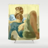 les miserables Shower Curtains featuring Sleepy Les Miserables by Pruoviare