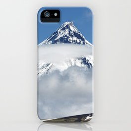 Group of hikers climbing on mountain on background volcanoes of Kamchatka Peninsula iPhone Case