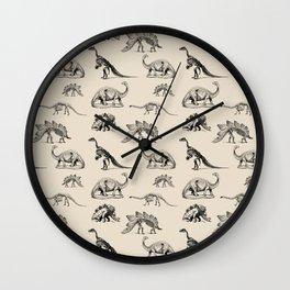 Museum Animals | Dinosaur Skeletons on Cream Wall Clock