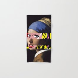 Vermeer's Girl with a Pearl Earring & Lichtenstein's Girl with a Hair Ribbon Hand & Bath Towel