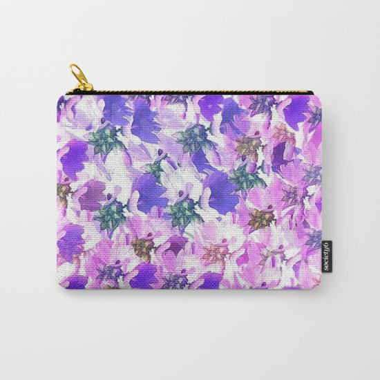 Lavender and Pink Floral Abstract Carry-All Pouch