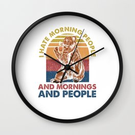Funny Introvert Coffee Lover Coffeine Bear Morning Wall Clock